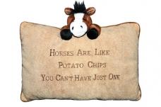 """Pliušinė pagalvėlė """"Horses are like Potatochips"""""""